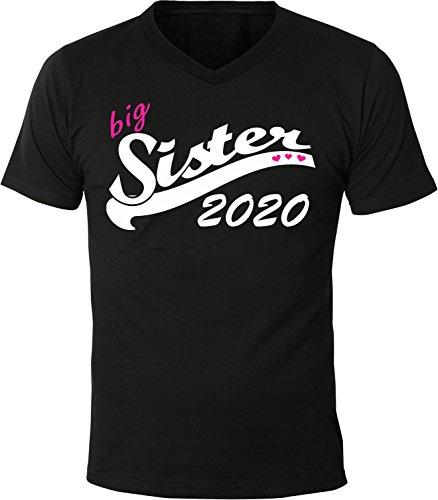 Mister Merchandise Herren Men V-Ausschnitt T-Shirt Big Sister 2020 Tee Shirt Neck bedruckt Schwarz