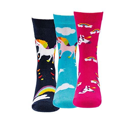 Kinder Thermo Stoppersocken ABS für Jungen und Mädchen Strümpfe mit Noppensohle Kids Socks Inhalt 3 Paar, (3 Paar, 35-38 Einhorn)