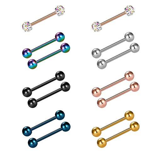 Incaton 14pcs 14g 12-18mm lingua anelli capezzolo dritto barbells acciaio chirurgico gioielli per piercing