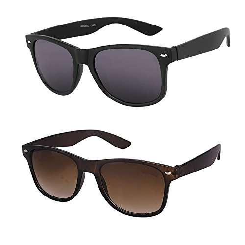 Y&S Combo Of 2 Wayfarer Sunglasses For Womens/Girls – (Black-Brown-Wayfarer-Combo-Ladys-Sunglasses-V1)