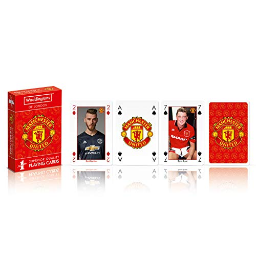 Manchester United FC Original Waddingtons Spielkarten - Rot - 2er Pack -