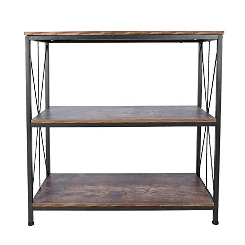 Beistelltisch Konsolentisch Nachttisch Ablagetisch Flurtisch Sofatisch Couchtisch Vintage Bücherregal Lagerregal mit 3 Ebenen für Wohnzimmer, Buchraum, Schlafzimmer, Industrie-Design, 90 * 81 * 38cm