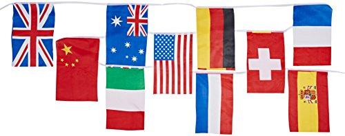 Creative - bandierine, motivo bandiere internazionali, 20 bandiere su un filo