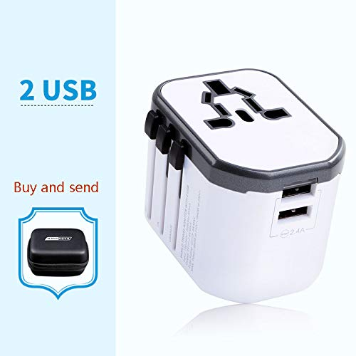 AYAH Conector de conversión Universal Global Cargador Universal Convertidor USB,White