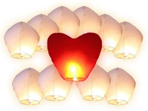erne Chinesischer Schwungrad 11 Stück Hochzeit Party Nozze, Weiß (rotes Herz) ()