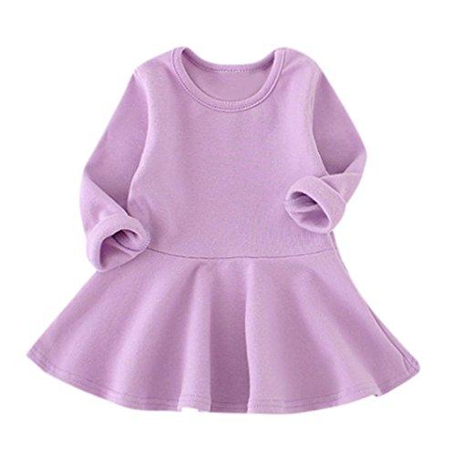 OverDose Baby Mädchen Candy Farbe Langarm Solide Prinzessin Kleid Casual Kleinkind Kinder Swing Mini Kleid(12-18 Monate,A-Lila) (Kleinkind Mädchen Kleid Socken)