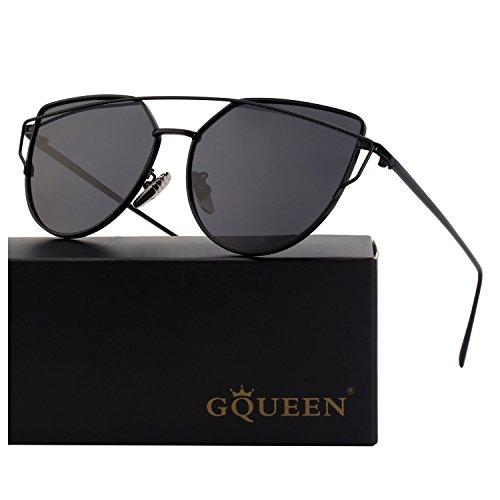 GQUEEN Ojos De Gato Espejo Gafas de Sol MS4 para Mujer A Negro Gris Grande