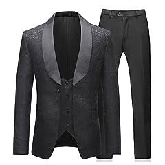 Idea Regalo - Abito da Uomo 3 Pezzi Slim Fit Abiti da Pranzo Nero Rosso Formale Giacca da Smoking da Uomo Giacca Gilet Pantaloni