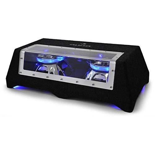 """auna C8-Sub-2x12-LED, Subwoofer, Doppel-Subwoofer, Car-HiFi-Doppel-Subwoofer, 30 cm (12\""""), 90 dB, 2 x 800 W max, 2 x 400 W RMS, LED-Lichteffekt, Plexiglas-Scheibe, inkl. Kabel, schwarz"""