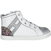 Hogan Scarpe Sneakers Bimba Bambina Alte Pelle Nuove r141 h Flock Bianco
