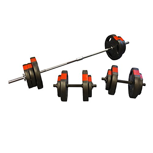 Hi-Performance-60kg-Barbell-Dumbbell-Set-Tri-Weight-Plates-Weights-Training-Spinlock-Collars-60kg-Tri-Grip-BarbellDumbbell-Set