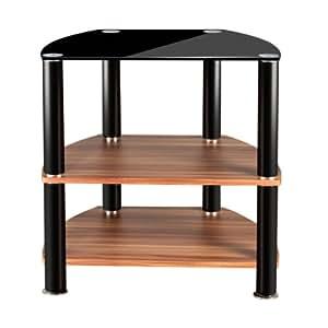 Premier Housewares Meuble TV 3 niveaux Étagères en noyer vernis Plateau supérieur en verre noir 62 x 60 x 45 cm