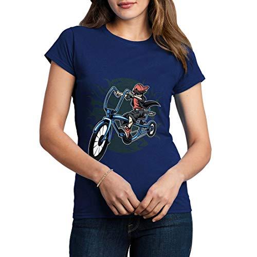 C314WCNTN Damen T-Shirt Bicycle Kid Sport Racing Team Pedal Pusher Club Bike Shop Born to Ride Full Speed Legend(Small,Navy) -