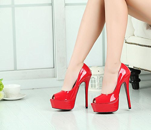 HeiSiMei Damen Sandalen / Komfort Leder / Stiletto Heel / Fisch Mund Schuhe / Dicke wasserdichte Plattform / Nightclub / Party & Abend / Office & Karriere / Pseudo-Mutter High Heels / Herren / Unisex RED-EU40