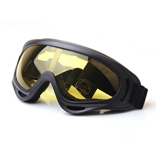 TININNA Winddicht Snowmobile Gletscherbrille Fahrrad Skibrille Schutzbrille Sportbrille Gelb EINWEG Verpackung