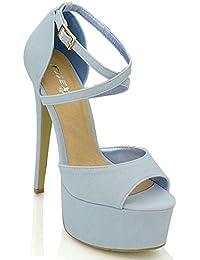 6189d9c0e5 ESSEX GLAM Sandalo Donna Peep Toe con Lacci Plateau Tacco a Spillo Alto