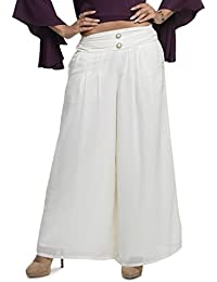 A Luv Ya Cream Georgette Pleated & Lined Palazzo