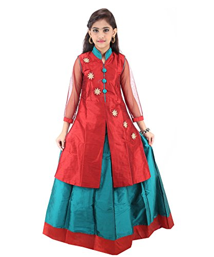 JBN Creation Girls Embroidered Jacket And Lehenga Set For Kids (Color: Maroon...