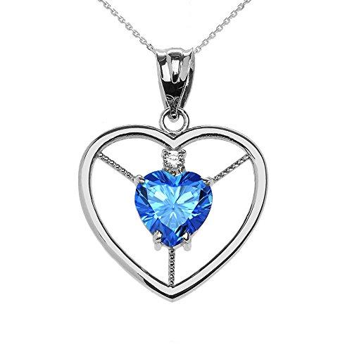 Donne Collana Pendente Elegante Argento Sterling 925 Diamante E Dicembre Birthstone Azzurro Cuore Solitario (Viene Fornito Con Una Catena Da 45cm)