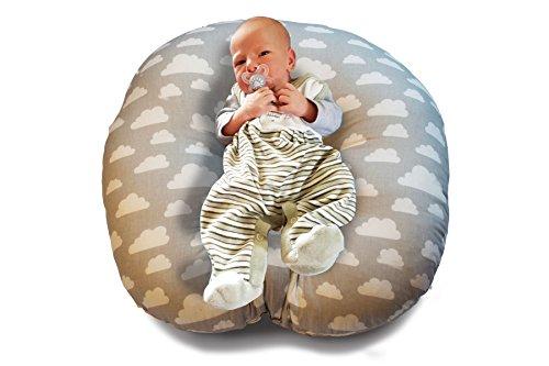 Baby Lounge Lagerungskissen 55 x 55 x 20 cm Liege-Kissen Nestchen Kopf-Kissen Schlaf-Kissen Erstausstattung Nackenrolle (Wolke)