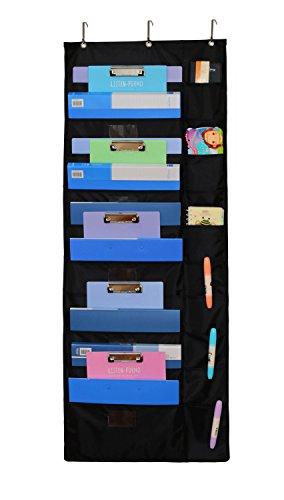 homyfort Magazinboard Zeitungshalter Magazinhalter Wandregal Hängeorganizer - Perfekt für Haus, Schule Oder Büro Rechnung mit 20 Taschen, Oxford Stoff, Schwarz, WJJGD22
