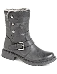 9668ae2b7a7c Ladies Biker Style Ankle Boots with Faux Fur lining BLACK size 5 UK