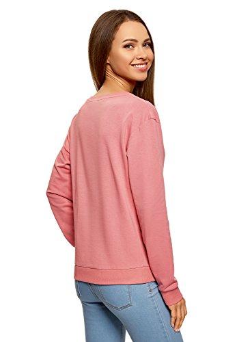 oodji Ultra Damen Baumwoll-Sweatshirt Basic Rosa (4B00N)