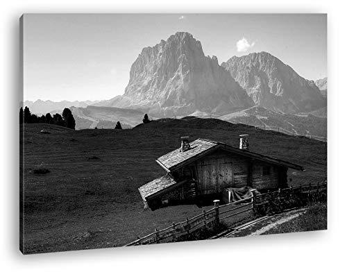 deyoli Holzhütte im Gebirge Format: 120x80 Effekt: Schwarz&Weiß als Leinwandbild, Motiv fertig gerahmt auf Echtholzrahmen, Hochwertiger Digitaldruck mit Rahmen, Kein Poster oder Plakat