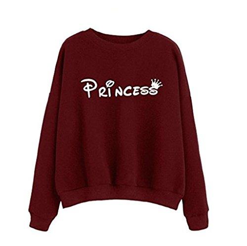 Damen Hoodie Langarm Bluse Xinan Princess Brief Drucken Sweatshirt Pullover (S, Weinrot) (V-neck Pullover Baumwoll-mischung)