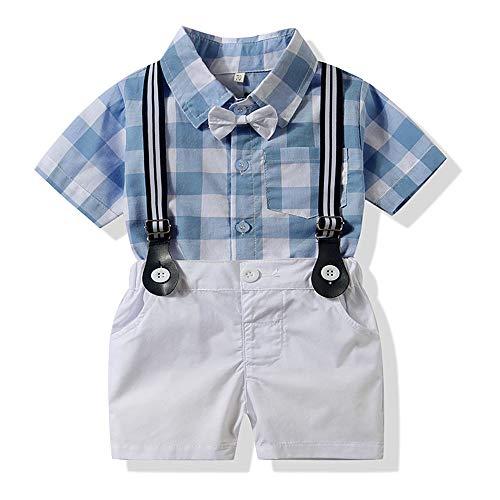 LEHOUR Baby Jungen 2 Stücke Taufe Anzüge Bowtie Shirt Top + Hosenträger Strap Shorts, Formale Kinder Party Outfit Gentleman Kleidung Sets 0-24 M (Straps-shorts)