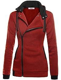 Con A Sweatshirt Chiusura Asimmetrica Casuale Giacca Lunga Donna Cappotto Cerniera Sportiva Manica Cappuccio Minetom Felpa q0I86w8