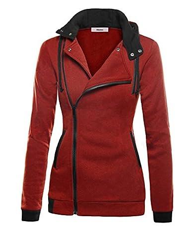 Minetom Femme Automne Hiver Encapuchonné Oblique Zipper Hauts Tops Casual Sweat À Capuche Hoodie Veste Blouson Outerwear Manteau Rouge FR 48