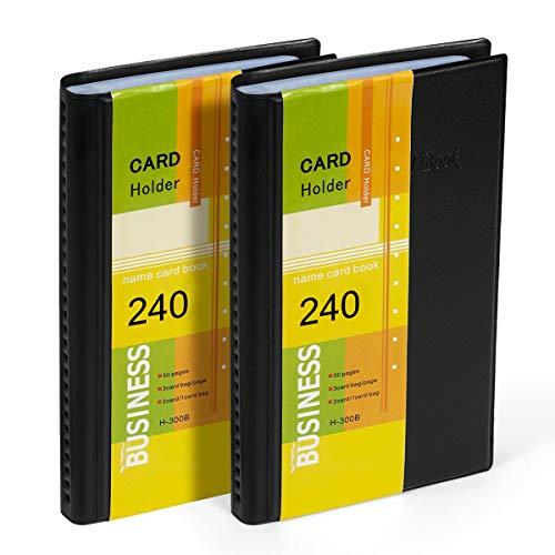 Hamosky Visitenkartenmappe für 240 Karten Ideal für Büro und Praxis Visitenkartenbuch Visitenkarten Kreditkarten schwarz