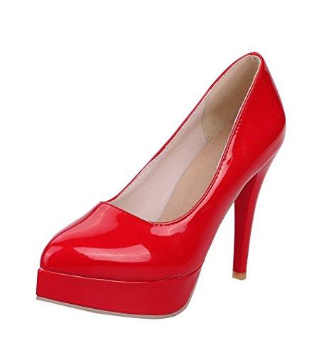 AllhqFashion Damen Hoher Absatz Rein Ziehen Auf Lackleder Spitz Zehe Pumps Schuhe Rot