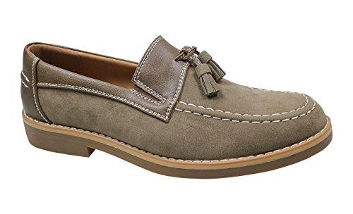 Ak collezioni scarpe mocassini uomo beige casual eleganti slip on scamosciati (44)