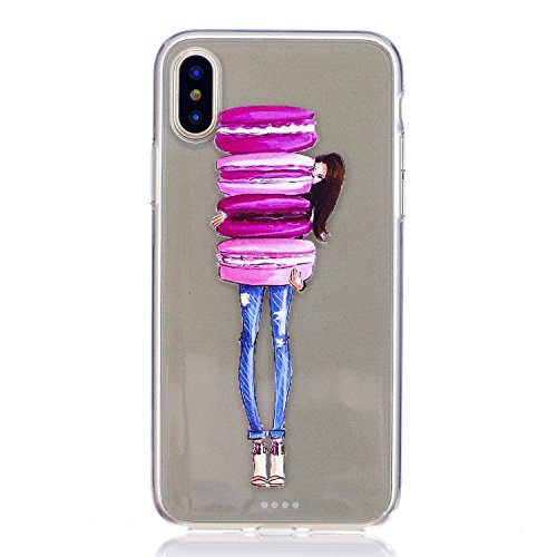 Cozy Hut iPhone X/iPhone XS Hülle, Ultra Thin Tasche Cover TPU Silikon Handyhülle Stoßfest Case Schutzhülle Shock Absorption Backcover Hüllen für iPhone X/iPhone XS - Kuchenmädchen