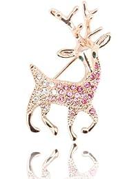 Fashion Plaza - plaqué Or Rose Sparkly Rose Violet Crystal Noël Rudolph Reindeer Animal Broche Br130 - Femme