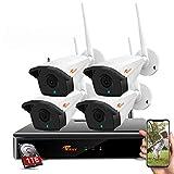 CORSEE 8 Canales NVR Video vigilancia inalámbrico con 4 Piezas Cámaras CCTV 1080P 4 Piezas 1080P Disco Duro Incorporado de 1TB (Se Pueden Agregar más cámaras, micrófono Incorporado)