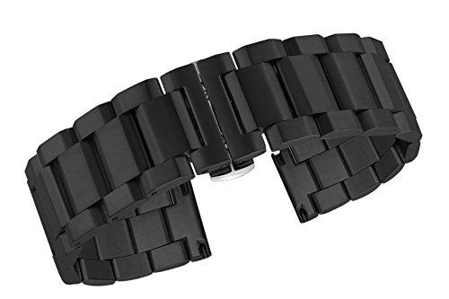 24mm Luxus Herrenuhr Armband Ersatz schwarz Inox Stahl Uhrenbänder unsichtbare Doppelverriegelung Verschluss