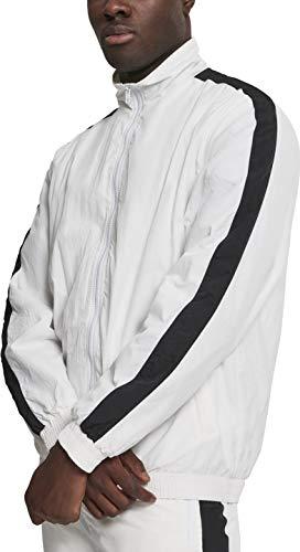 Urban Classics Herren Striped Sleeve Crinkle Track Jacket Jacke, Weiß (Wht/Blk 00224), X-Large (Herstellergröße: XL)