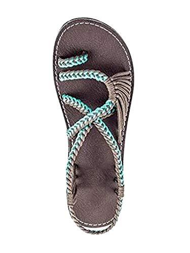 ORANDESIGNE Sandali Donna Eleganti Spiaggia Casuale Intrecciato Sandals Shoes Estivi Tacco Basso Infradito Scarpe X Verde EU 36