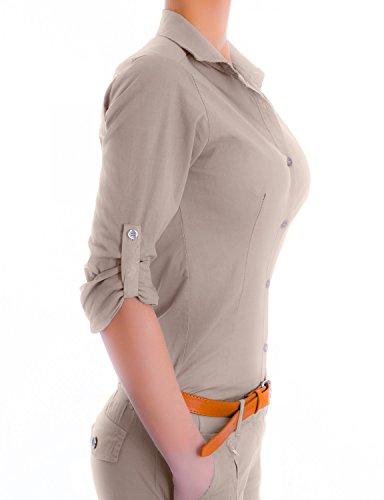 Danaest Damen Elegante Figurbetonte Langarm Bluse Hemd (510) Beige
