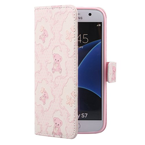 Coque Etui pour Galaxy S6, Galaxy S6 Coque Painted Relief Portefeuille PU Cuir Etui, Galaxy S6 Coque de Protection en Cuir Folio Housse, Galaxy S6 Leather Case Wallet Flip Cover Protector, Ukayfe Etui Teddy Bear