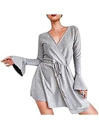 a59928e5e8d Goosuny Damen Casual Kleid Langarm V-Ausschnitt Langarm Kleid Sexy  Abendkleid Partykleid Beiläufiges Minikleid Strandkleid Elegant T-Shirt…