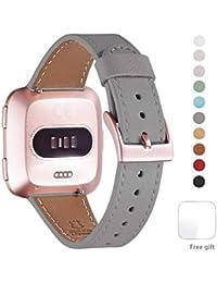 WFEAGL Kompatibel für Fitbit Versa Armband, Top Grain Lederband Ersatzband mit Edelstahl-Verschluss für Fitbit Versa Fitness Smart Watch (Grau+ Roségold Schnalle)