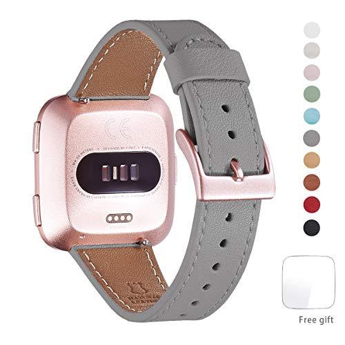 WFEAGL Kompatibel für Fitbit Versa Armband, Top Grain -
