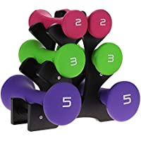 Greensen Dumbbell Weights Set, 3 Pairs Dumbell Set Anti-skid Dumbbell Tree Set with Stand 9KG