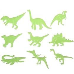Adhesivos decorativos infantiles, diseño de dinosaurios, brillan en la oscuridad