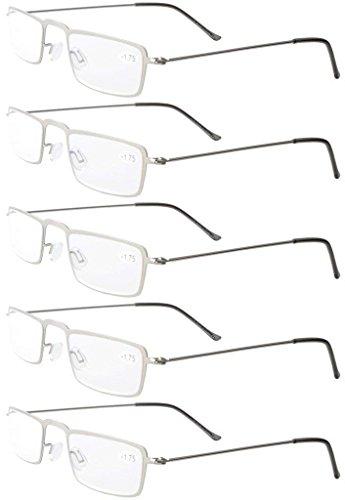 Eyekepper 5-Pack rostfrei Staal Rahmen Halb-Augen Art Lesebrille Leser Silber +2.0