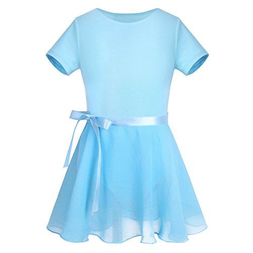 Tiaobug Ballettkleid Mädchen Langarm Ballett Trikot Baumwolle Ballettanzug Kinder Ballettkleidung Set Gr. 98-164 (140-152, Blau)